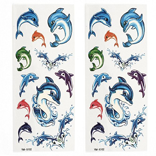 Dolphin Pattern Paper Sticker Temporary Tattoos 2 Sheets Colorful (Dolphin Tattoo)