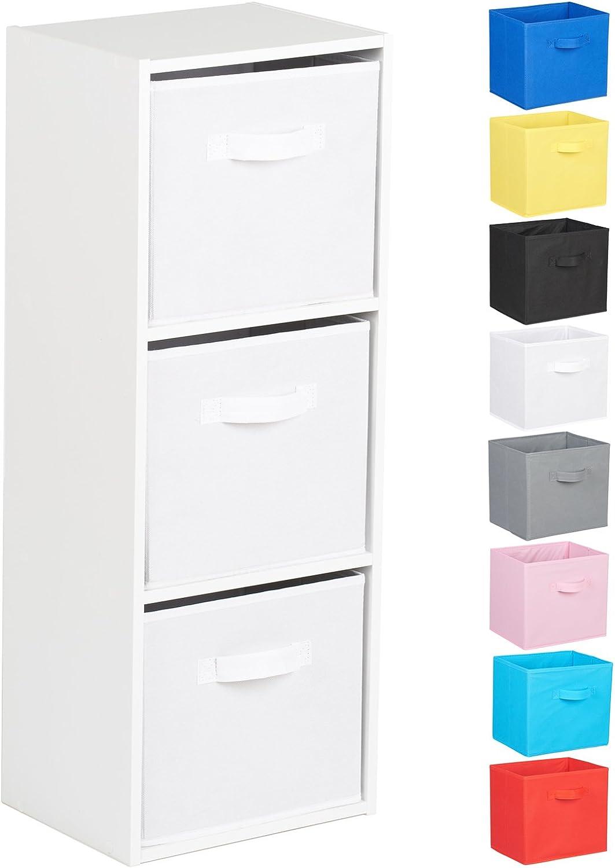 Hartleys Meuble Rangement Cube Tiroirs Commode Noir 2 Niveaux Boites Couleur