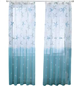 BROSHAN Printed Window Semi Sheer Curtain, Nautical Starfish Blue Ocean Curtain Drapes Living Room Bedroom, Modern Elegant Window Treatment Drapery Fabric, 1 Panel, Nickel Hooks, 98 inches Long