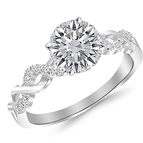 0.5 Cttw 14K White Gold Round Cut Twisting Infinity Gold and Diamond Split Shank Pave Set Diamond Engagement Ring with a 0.37 Carat J-K Color I2 Clarity Center
