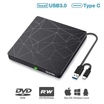Unidad DVD/CD Externa, SAWAKE Grabadora Externa USB 3.0 y Type-C, Dispositivo Lector CD/DVD Slim Portátil, Compatible con Windows ...