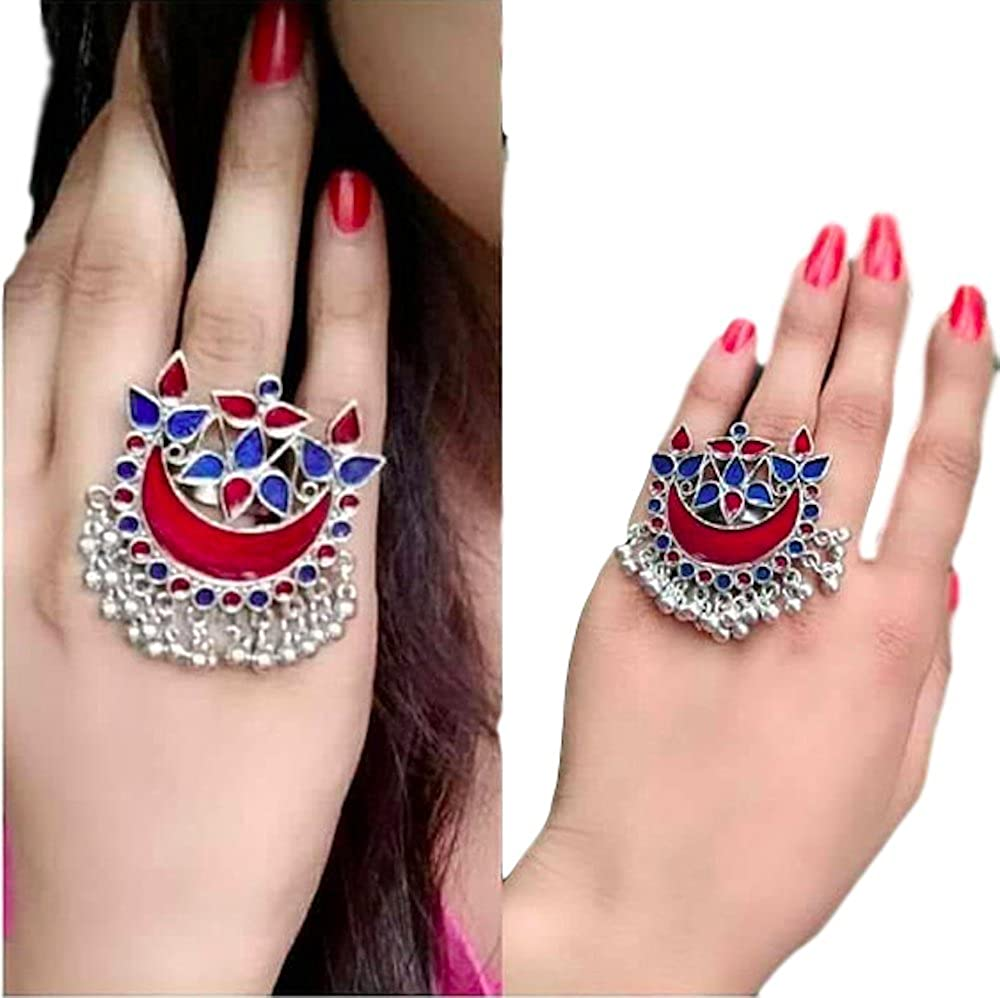 Salaan Namaste Beautiful Half moon afghani ring with ghungroo