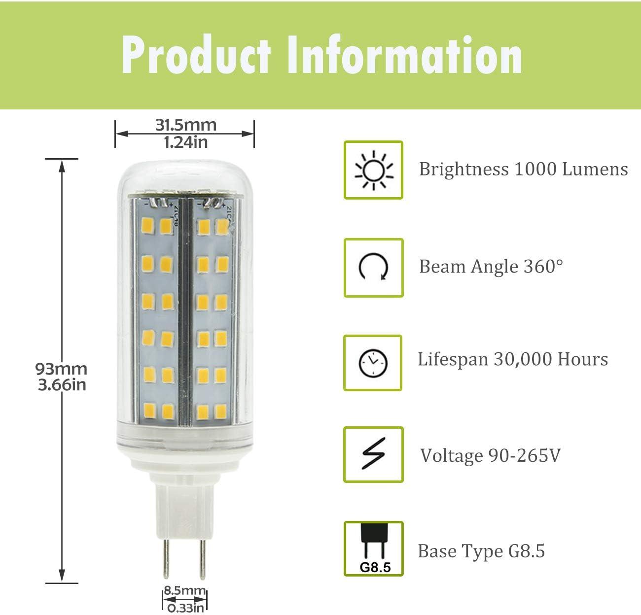 ZIBEI G8.5 LED Leuchtmittel 10W ersetzt 100W Halogenlampen