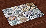 Lunarable Antique Place Mats Set of 4, Antique Classical Tiles Pattern Folkloric Art Patchwork Inspired Style Image, Washable Fabric Placemats for Dining Room Kitchen Table Decor, Blue White Green