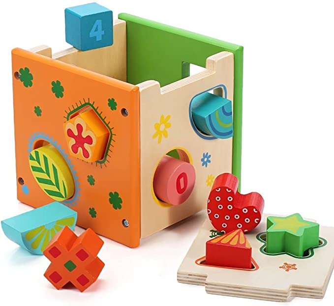 Glamore Wooden Shape Sorter Kids Preschool Educational Toys Puzzles Number Color Recognition Childrens Product
