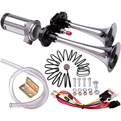 FARBIN Mini Air Horn 12V Loud Car Horn,Chrome Zinc Dual Trumpet with Compressor Wire Harness and Button for Any 12V Vehicles Trucks Lorrys Cars SUV RV Motorcycles Off Road (12V, Mini version + Button): Automotive