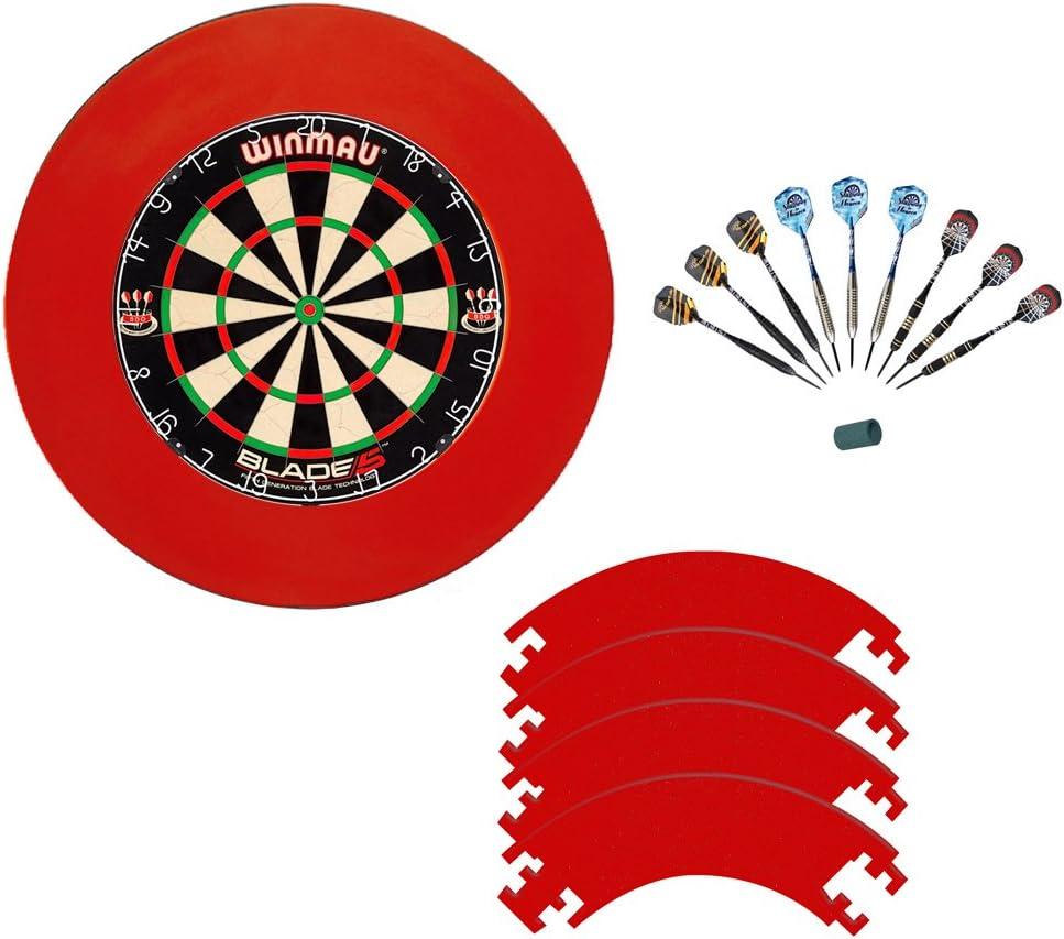 Winmau Blade 5 dartboard and McDart steel darts