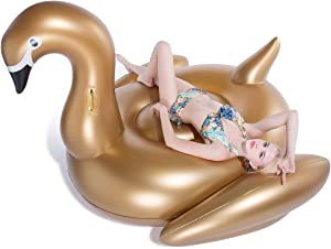 Jasonwell Giant Inflatable Golden Swan Pool Float Inflatable Party Float Toy with Fast Valves Summer Outdoor Swimming Pool Lounge Raft Decorations Toys for Adults & Kids 75x 67 x 51.2-Inch