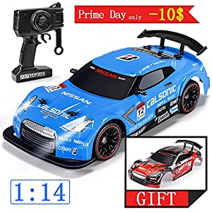 WOCKODER RC Car Electric Racing Drift Car 1/14 2.4Ghz Radio Remote 25Km/h Controlled RTR Truck For Kids Adults Gifts 4WD High Speed Racer Car with 7.4V Battery and One Extra Rechangeble Car Shell
