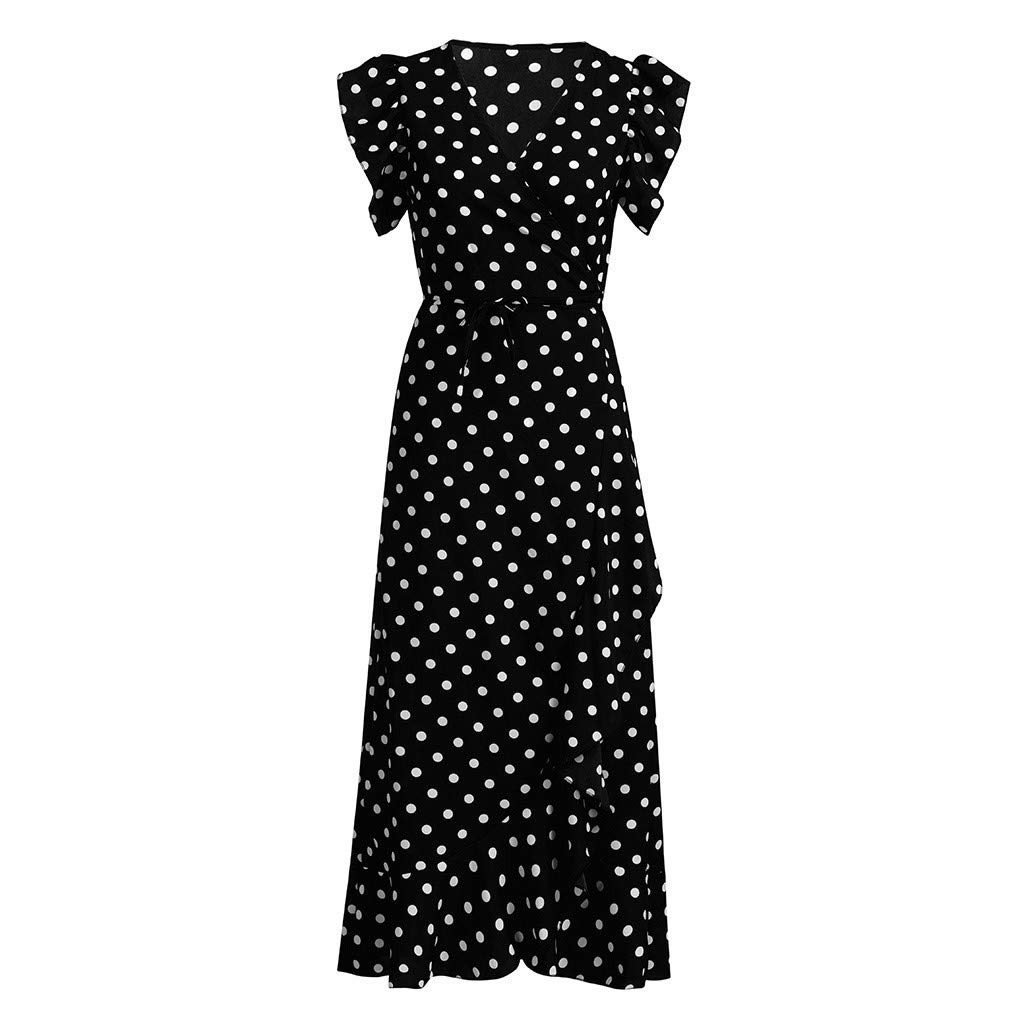 Fashion Dress & Tops, Womens Dots Boho Mini Dress Lady Beach Summer Sundrss Maxi Dress (L, Black)