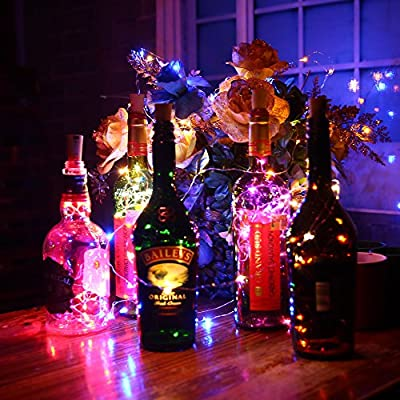 Fanme Bottle Cork Lights Wine Bottle Fairy Mini String Lights Copper Wire Battery Operated Starry lights for DIY Christmas Halloween Wedding Party Indoor Outdoor Decoration, 8 Pack