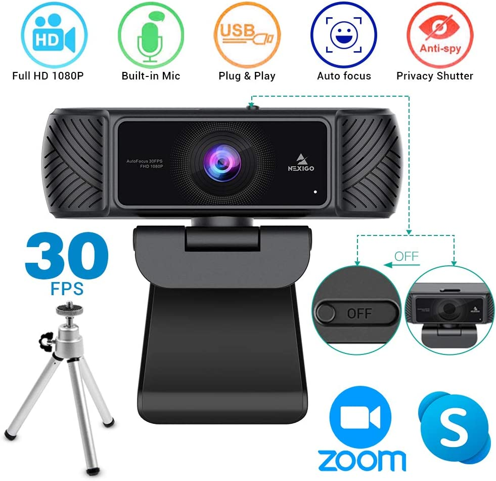 2020 [Upgraded] 1080P Webcam with Microphone, Built-in Privacy Cover and Tripod, NexiGo Pro USB HD Web Camera with Mic for Online Class, Zoom Meeting Skype Facetime, PC Mac Laptop Desktop
