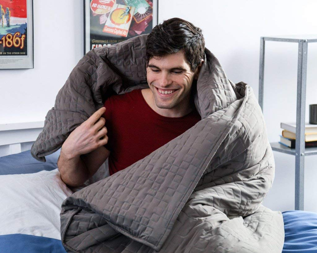 15 Pounds Gravity Cooling Blanket: The Weighted Blanket for Sleep Stress and Anxiety 48 Inches x 72 Inches Grey