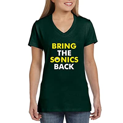 """The Silo GREEN Seattle """"Bring The Sonics Back"""" LADIES V-NECK"""