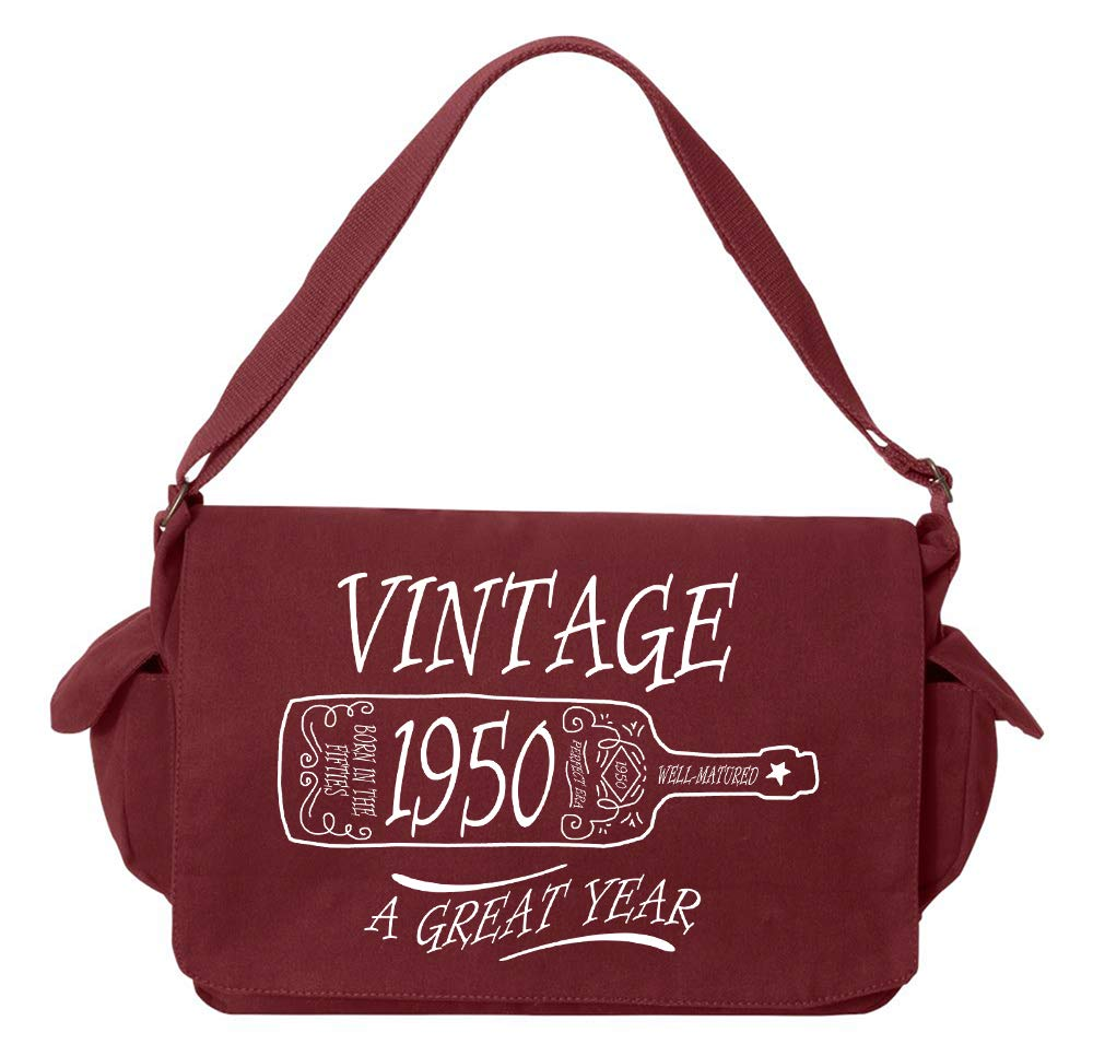 Tenacitee Aged Like a Fine Wine 1950 Flamingo Raw Edge Canvas Messenger Bag