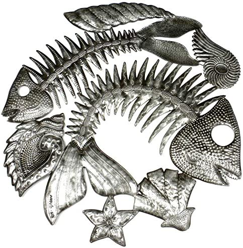 Global Crafts Recylced Handmade Haitian Metal Wall Art Fish Bones, 24 X 10 Single