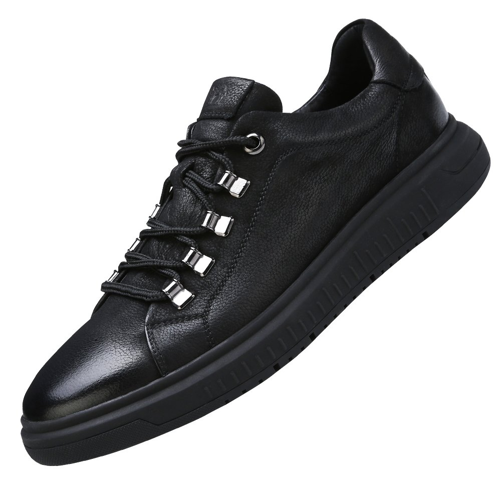 CAMEL CROWN Mens Casual Leather Fashion Sneakers Wide Low Top Oxford Shoes for Walking Black 270