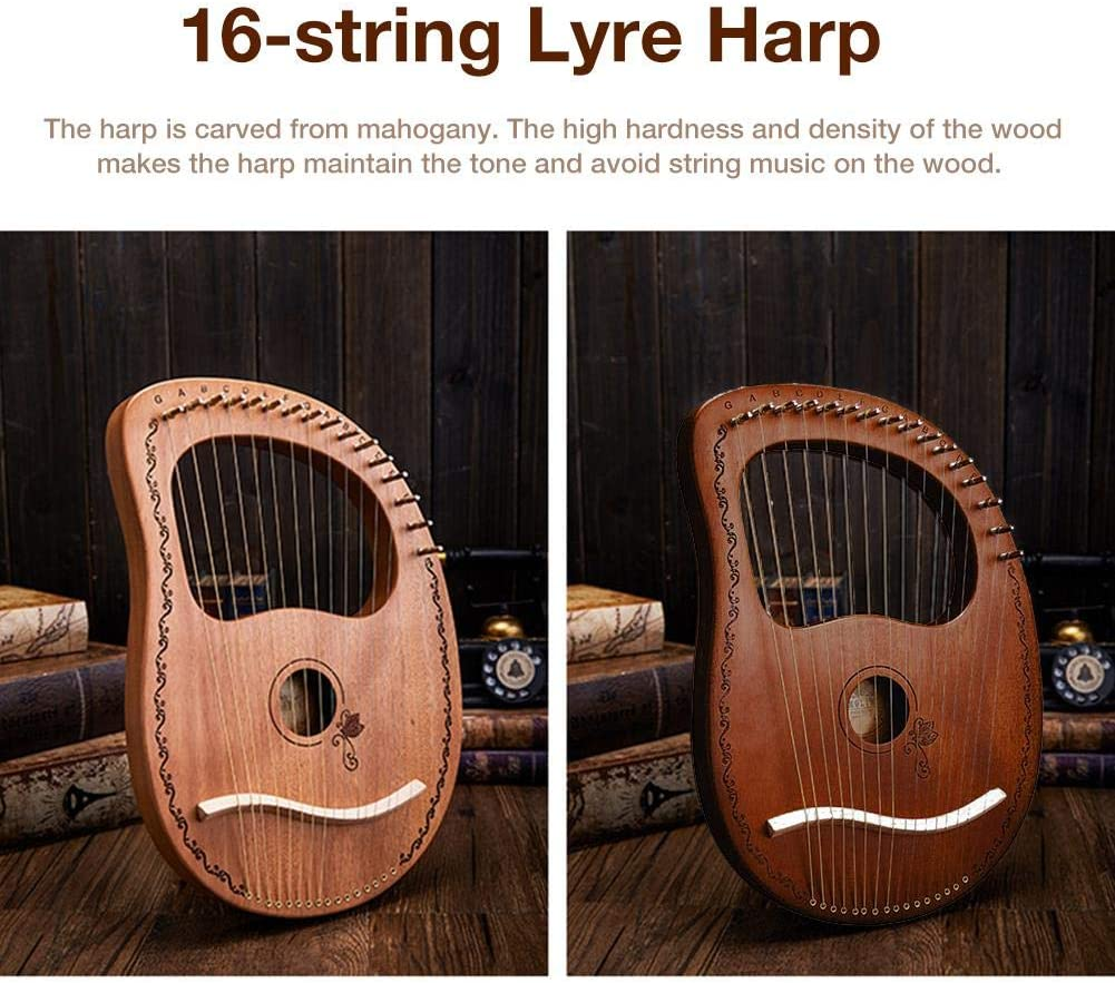 16 Steel String Saddle Lye Harp with Tuning Wrench Storage Bag Harp Set for Instrument Lovers Beginners goodshare Lyre Harp Mahogany