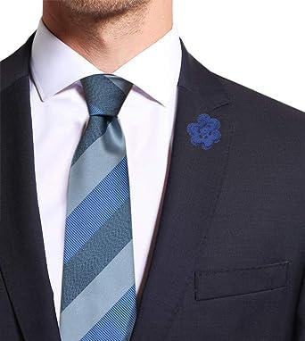 selezionare per lo spazio massimo stile nessuna tassa di vendita Remo Sartori - Cravatta in Pura Seta Regimental a Righe Larghe Azzurra,  Made in Italy, Uomo