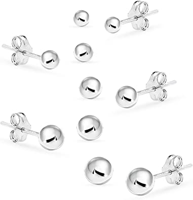 13 MM STUDS WITH ROUND 4 MM BEAD BALL 1 PAIR STERLING SILVER 925 EAR POSTS