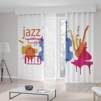 Amazon.com: YOLIYANA Bedroom Curtains,Jazz Music Decor for ...