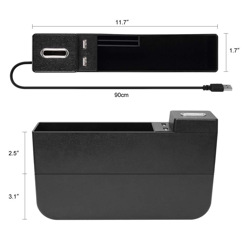 GR24 bolsillo lateral del asiento de autom/óvil con 2 puertos carga USB reversible para el asiento del conductor y el asiento del pasajero Jevogh Organizador de espacios para asientos de autom/óvil