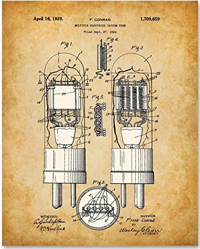 Vacuum Tube Art Print - 11x14 Unframed Patent Print - Great Gift for Amateur Radio Operators and Stereophiles