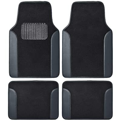 BDK MT202 Fresh Carpet Floor Mats for Car Sedan SUV Truck-Two Tone Color Design with PU Leather Trim Feature: Automotive