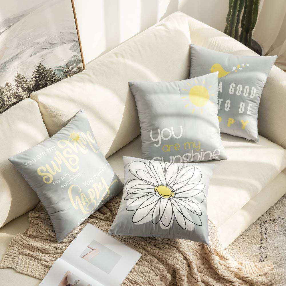 MIULEE Pack of 4 Decorative Cute Throw Pillow Covers Yellow On Grey Cushion Case Outdoor Shell Pillow Case for Car Sofa Bed Couch 18 x 18 Inch