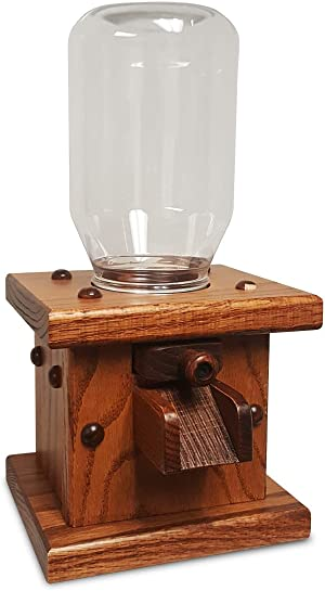 Wooden Candy Dispenser, Handmade Amish Antique Gumball Machine For Skittles, Reeses Pieces, Valentines, or M&Ms (Harvest)