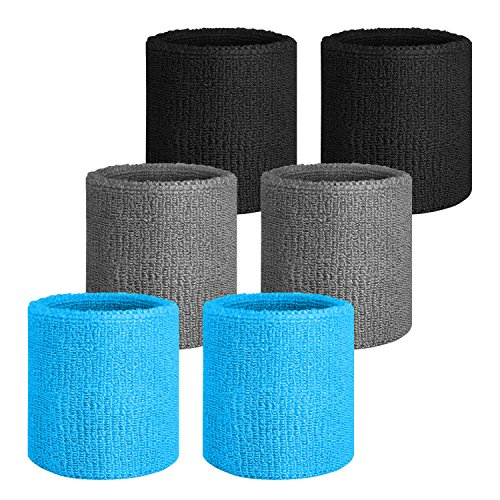 NEXTOUR Sweatband Headband/Wristband Perfect for Basketball, Running, Football, Tennis Terry Cloth Athletic Sweatbands Fits for Men and Ladies, 3/6 Piece – DiZiSports Store