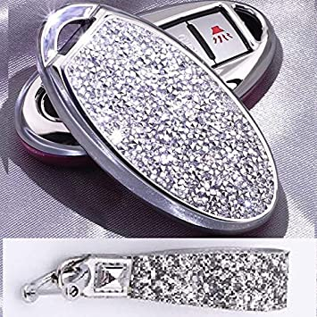 3 4 5 6 Buttons 3D Bling keyless Entry Remote Smart Key Fob case Cover for Nissan Murano Pathfinder Titan Maxima Sylphy Lannia Livina NV200 Tiida Teana Qashqai Sunny Keychain, Silver