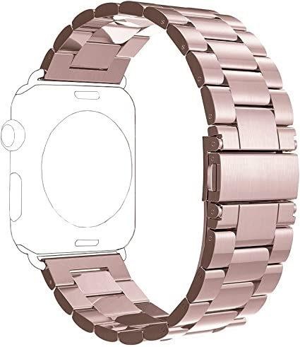 PUGO TOP Compatible with Stainless Steel Metal Iwatch Band 42mm 44mm Series 5/4/3/2/1 Men Women with Classic Butterfly Buckle. (42mm/44mm, Rose Gold)