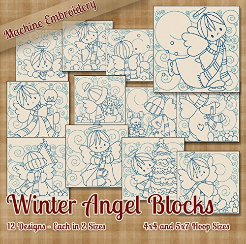 Winter Angel Blocks Redwork Embroidery Machine Designs on CD - 12 Adorable Outline Style Designs - 2 Sizes Each - ART ART70 SEW PES JEF EXP XXX VIP HUS DST