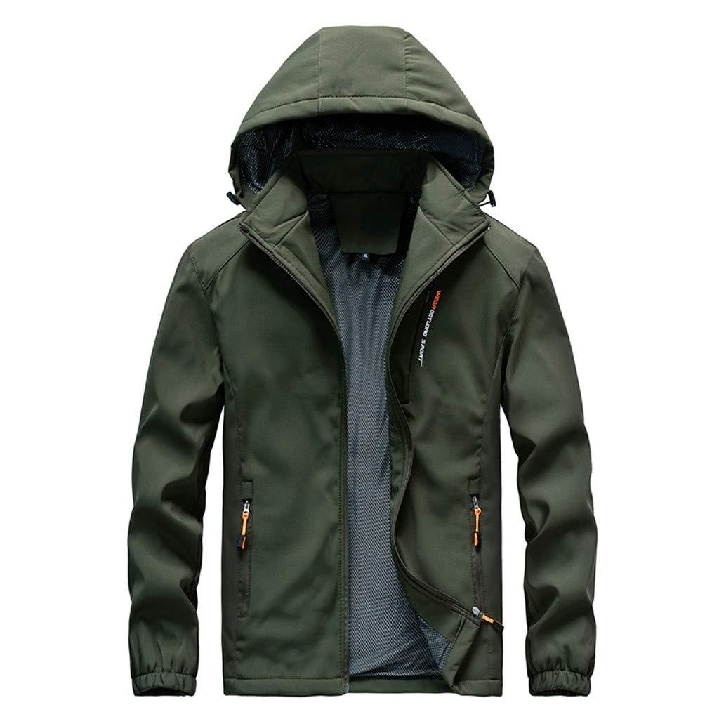 FEDULK Men's Sportwear Outdoor Jacket Hoodies Lightweight Zipper Breathable Waterproof Rain Coat Outwear(Green2, XXX-Large) by FEDULK