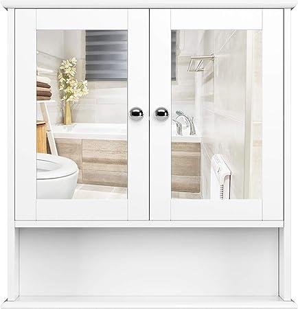【Accesorios metálicos y tableros de alta calidad】- El armario de baño con espejo está hecho de MDF d