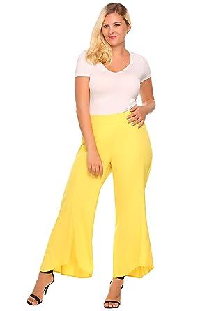 9fa82b24a3b Zeagoo Womens Plus Size Flared Wide Leg High Waist Long Capri Palazzo Pants
