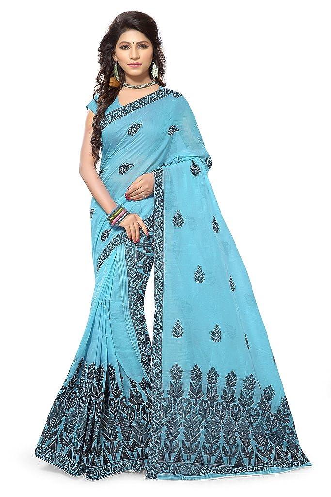 S Kiran's Women's Assamese Weaving Chanderi Cotton Mekhela Chador (Blue, Free Size)