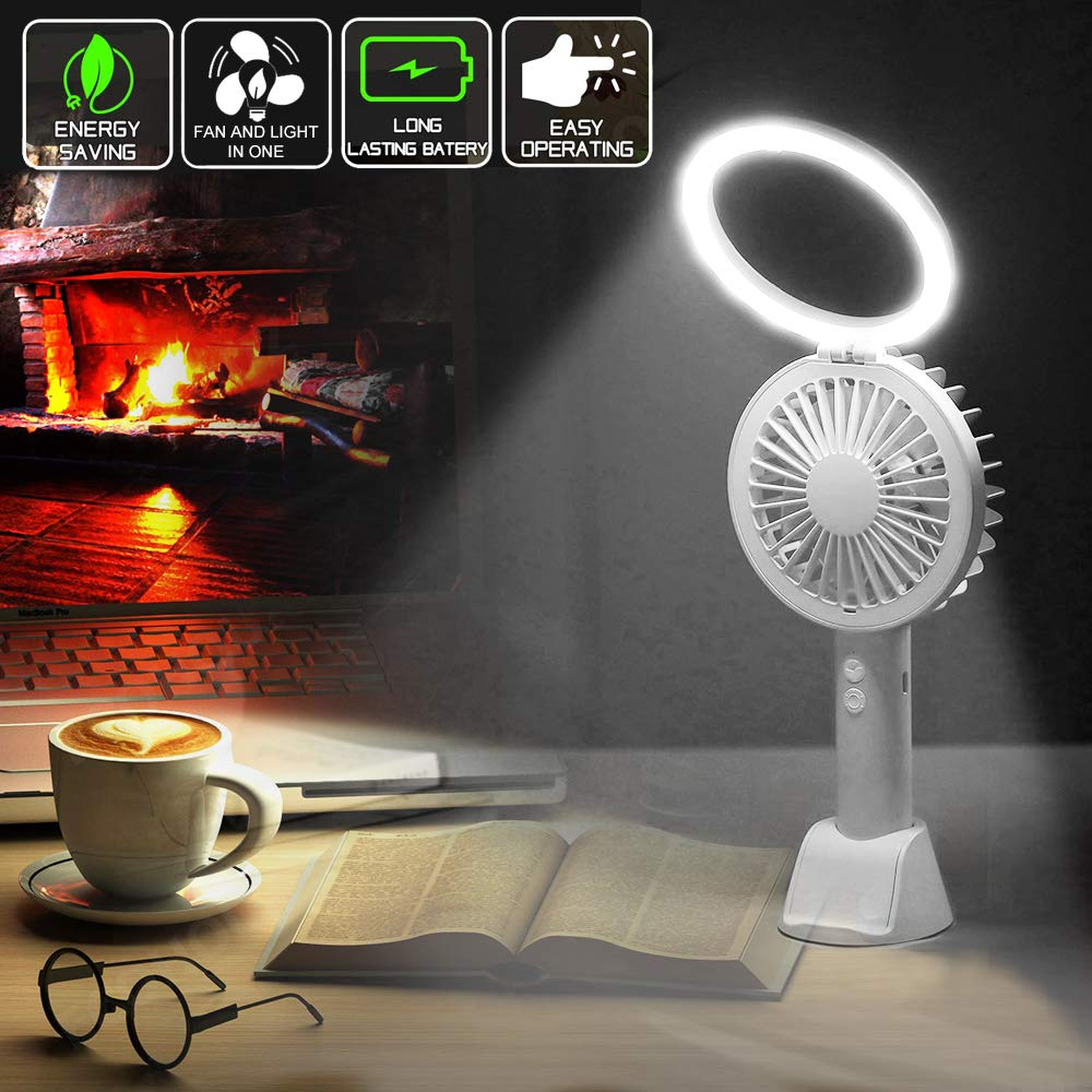 Mini Desk Fan Handheld Fan, Whisper Quiet Portable Personal USB Little Fan with Phone Holder, 7 Colourful LED Night Lights and Lamp, 1500mA Rechargeable Operated Battery, 3 Speeds Small Fan(White 08)