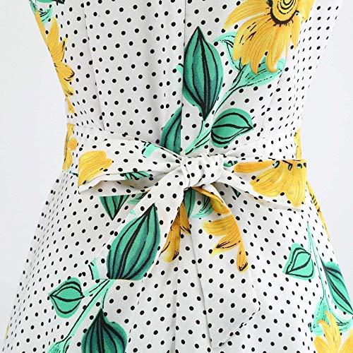 Maniche Swing Abito Da Nero colore Alta Donna Floral Small 2 Dimensione White4 Vintage Vita Senza A Pieghettato Vestiti Yingsssq Hepburn wq18IAcx