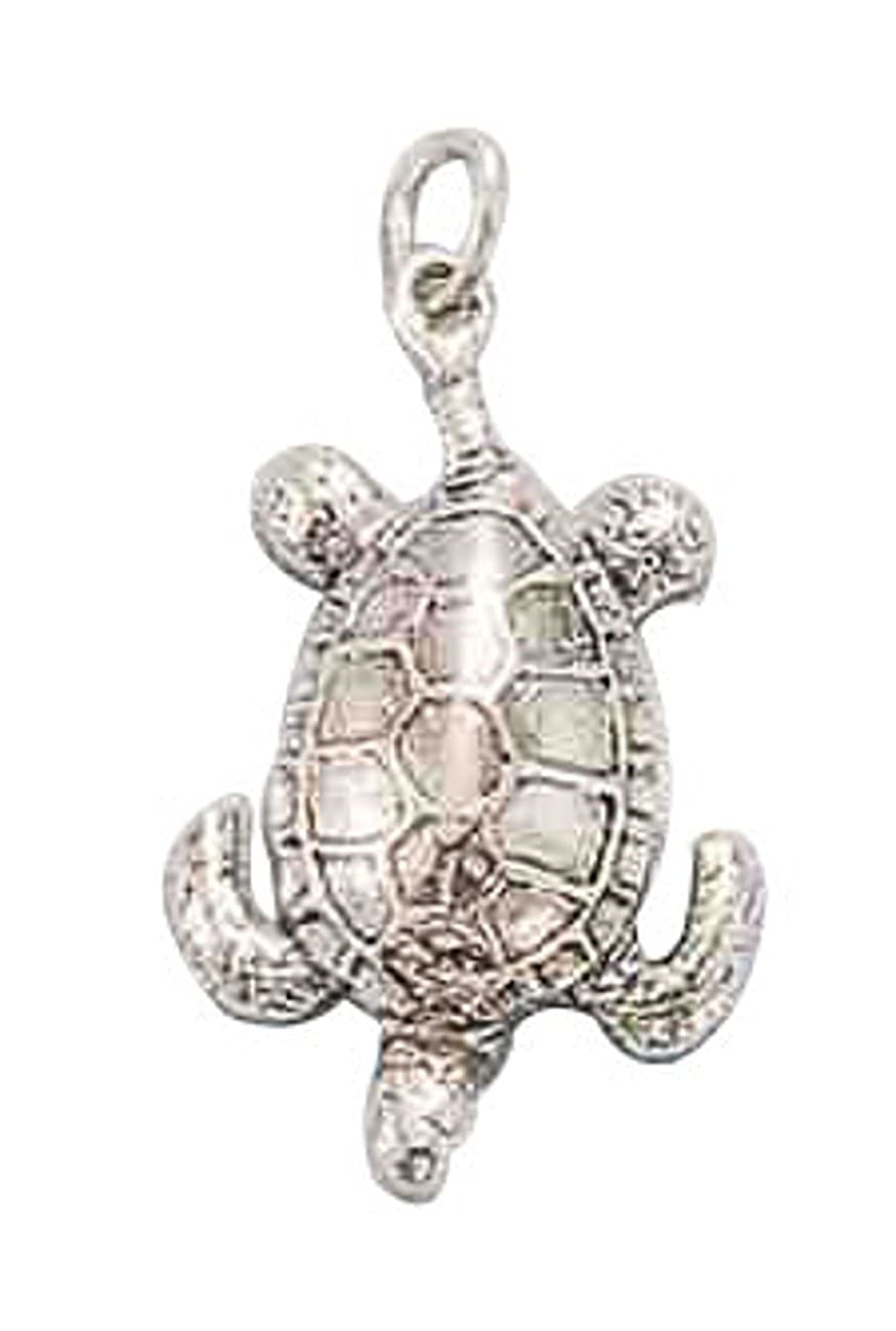 Sterling Silver Womens 1mm Box Chain 3D Deep Sea Turtle Pendant Necklace