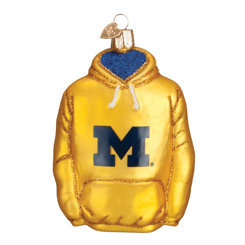 Old World Christmas Glass Blown Ornament with S-Hook, College Football Collection (Hoodie, Michigan)