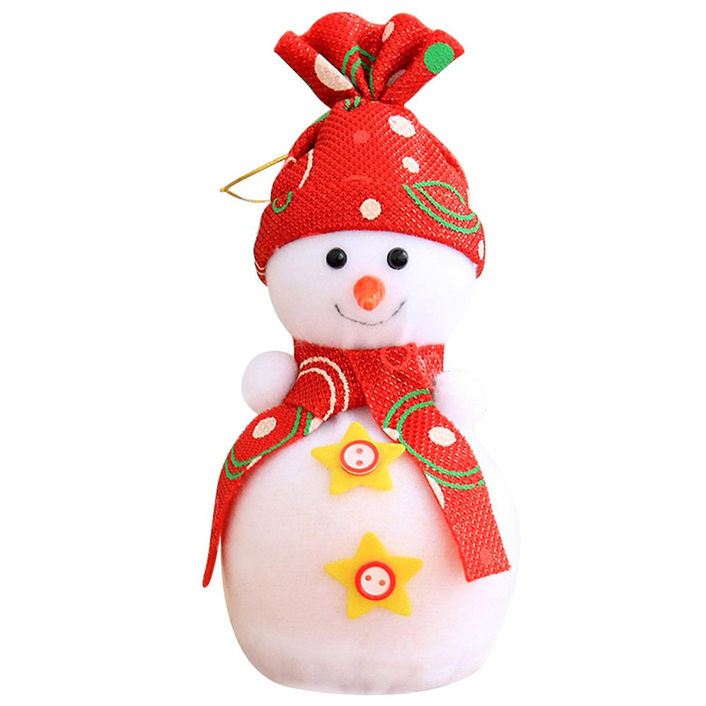 Colorido Cute Christmas Snowman Doll Apple Bag Pendant Kids Xmas Gift Party Decoration size Small (Red)
