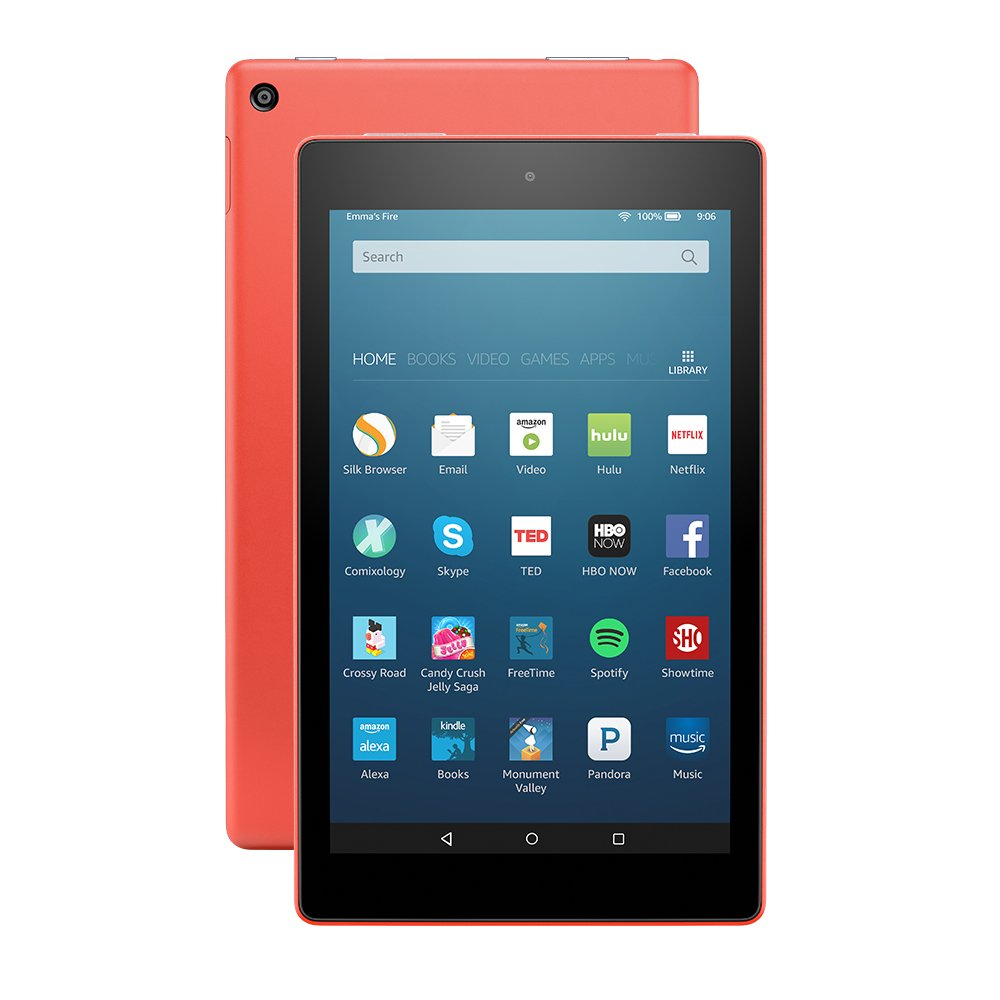 Fire HD 8 Tablet with Alexa, 8'' HD Display, 32 GB, Tangerine - with Special Offers (Previous Generation - 6th) by Amazon