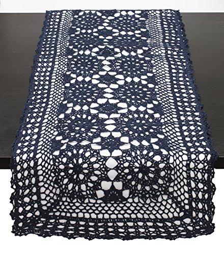 Hand Crocheted Runner (Fennco Styles Handmade Crochet Lace Cotton Rectangular Table Runner (16
