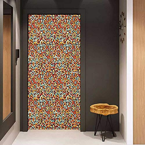 Onefzc Sticker for Door Decoration Modern Nature Inspired Scroll Pattern Buds on an Abstract Background with Colorful Circles Door Mural Free Sticker W23.6 x H78.7 Multicolor