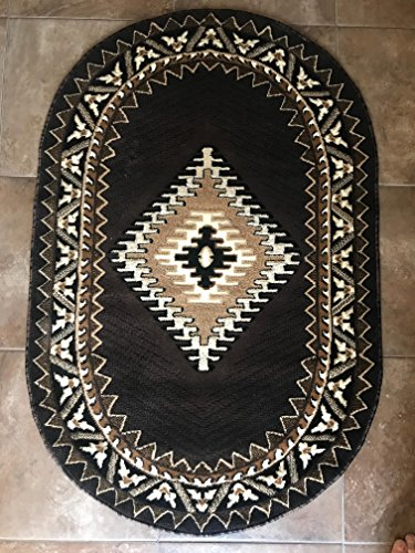 Dark Chocolate Oval Rug (Southwest Native American Indian Oval Area Rug Chocolate Brown Kingdom Design D143 (3 Feet X 4 Feet 7 Inch))
