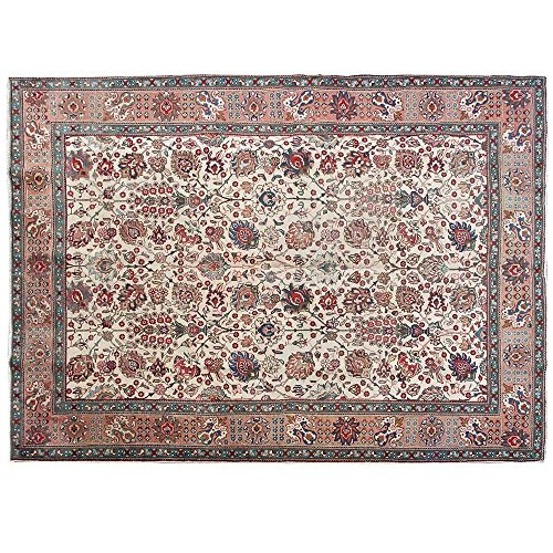 11.3' x 8.2' Antique floral design rug, Vintage traditional carpet, Floor Classy Carpet, Classical Fancy Hand Knotted Rug, Red and Beige Turkish Rug.Code S0101499 (Aubusson Rooster)