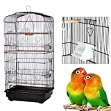 yoyoung Bird Cage,36'' Metal Birdcage for Parrot Cockatiel Canary Finch (Black)