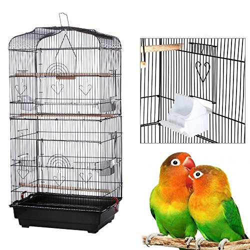 yoyoung Bird Cage,36'' Metal Birdcage for Parrot Cockatiel Canary Finch (Black) by yoyoung